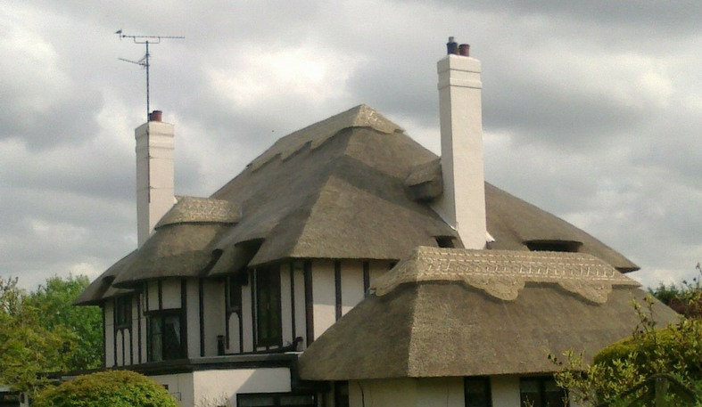 Partial re-thatch in water reed with new ridge in Essex
